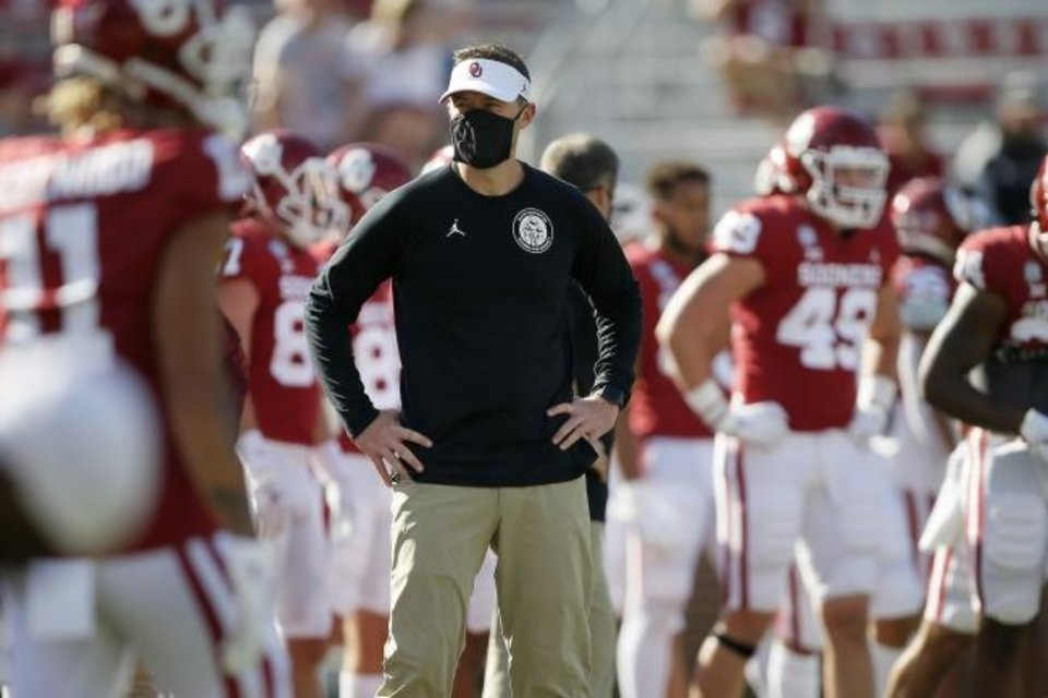 Photo -  OU coach Lincoln Riley's team looks to be peaking at the right time, having run off four consecutive wins, helped by the return of RB Rhamondre Stevenson and DL Ronnie Perkins from suspension. [Bryan Terry/The Oklahoman]