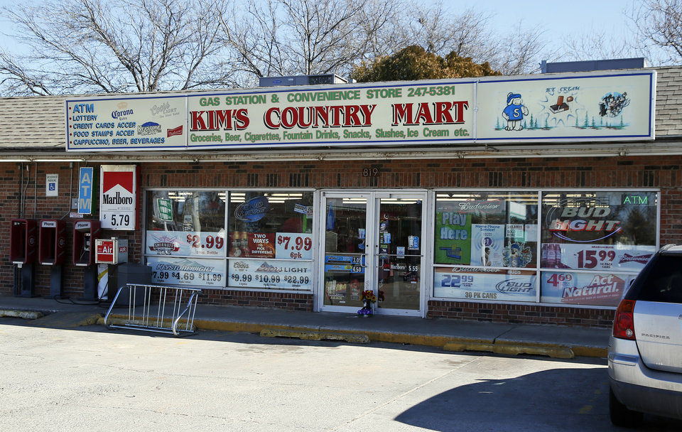 Kim's Country Mart, where a clerk was killed early Saturday morning, is shown in Anadarko, Okla., Monday, Jan. 25, 2016. Photo by Nate Billings, ...