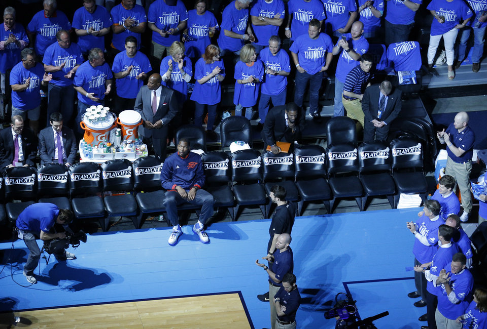 Photo -  Kevin Durant waits to be introduced before Game 5 of the first round series between the Oklahoma City Thunder and the Dallas Mavericks in the NBA playoffs at Chesapeake Energy Arena in Oklahoma City, Monday, April 25, 2016. Photo by Sarah Phipps, The Oklahoman