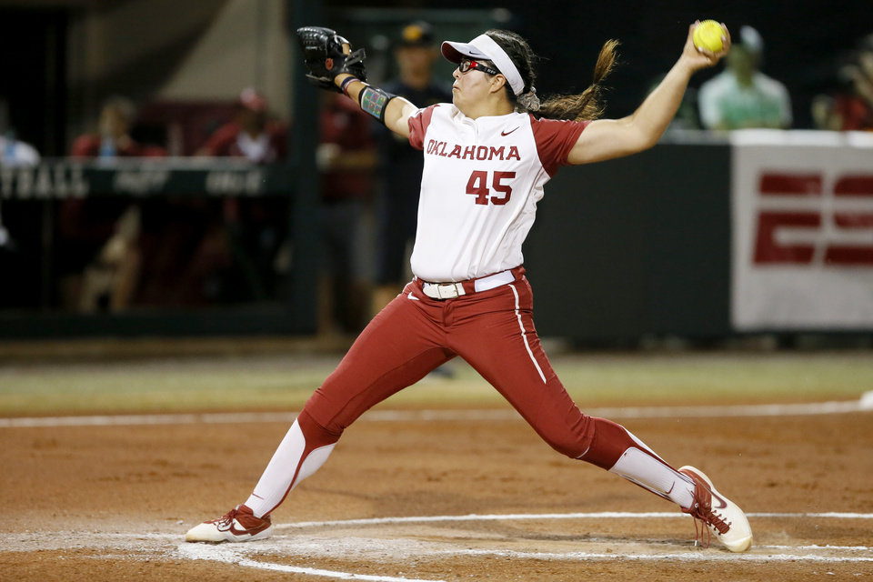 Photo - Oklahoma's Giselle Juarez (45) pitches during the Norman Regional NCAA softball tournament game between the University of Oklahoma (OU) and UMBC in Norman, Okla., Friday, May 17, 2019.  [Bryan Terry/The Oklahoman]