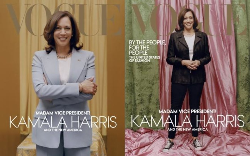 Photo -  This combination of photos released by Vogue shows images of Vice President-elect Kamala Harris on the cover of their February digital and print issues. Vogue's February 2021 issue is available on newsstands nationwide on January 26. [Tyler Mitchell/Vogue via AP]