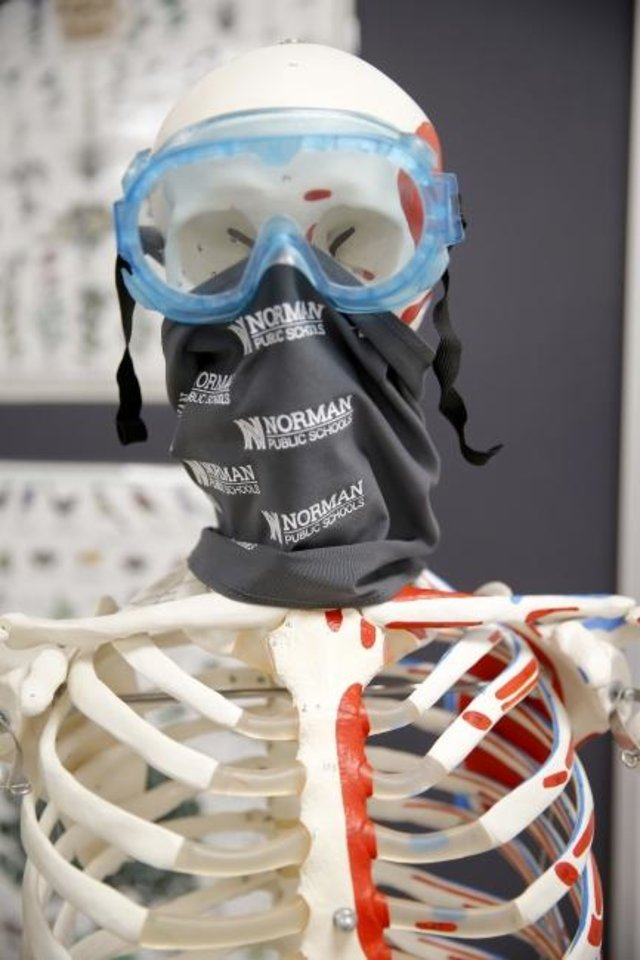 Photo -  A skeleton is pictured in the science room at the Norman Public Schools' Dimensions Academy building that houses the district's alternative education program in Norman, Okla., Tuesday, Jan. 5, 2021. [Sarah Phipps/The Oklahoman]