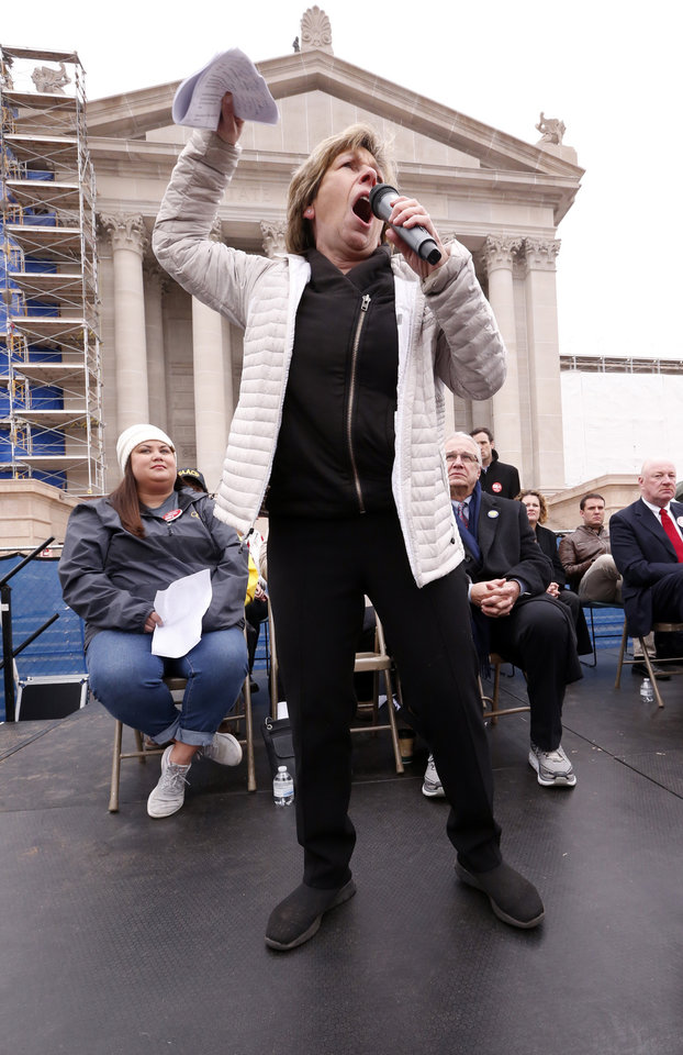 Photo -  Randi Weingarten, president of the American Federation of Teachers, speaks as Oklahoma teachers hold a rally at the State Capitol on Monday, April 2, 2018 in Oklahoma City, Okla. [Photo by Steve Sisney, The Oklahoman]