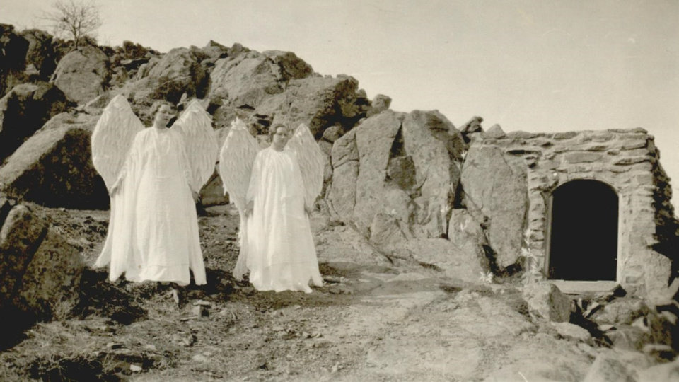 Photo - EASTER, PAGEANT / WICHITA MOUNTAINS: UNKNOWN: Caption reads, Easter Pageant - Wichita Mountains ( Angels at the tomb ) Photographer UNKNOWN. Original Photo UNKNOWN. Published on UNKNOWN.