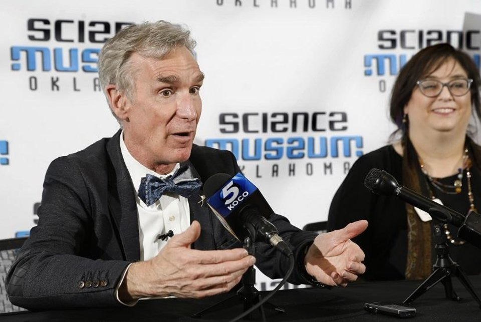 Photo - Well-known science advocate and television personality Bill Nye visits Science Museum Oklahoma Wednesday. Nye joined Sherry Marshall, right, president and CEO of Science Museum Oklahoma, to formally launch the museum's campaign to transform the old OmniDome Theatre into a world-class planetarium. [Jim Beckel/The Oklahoman]