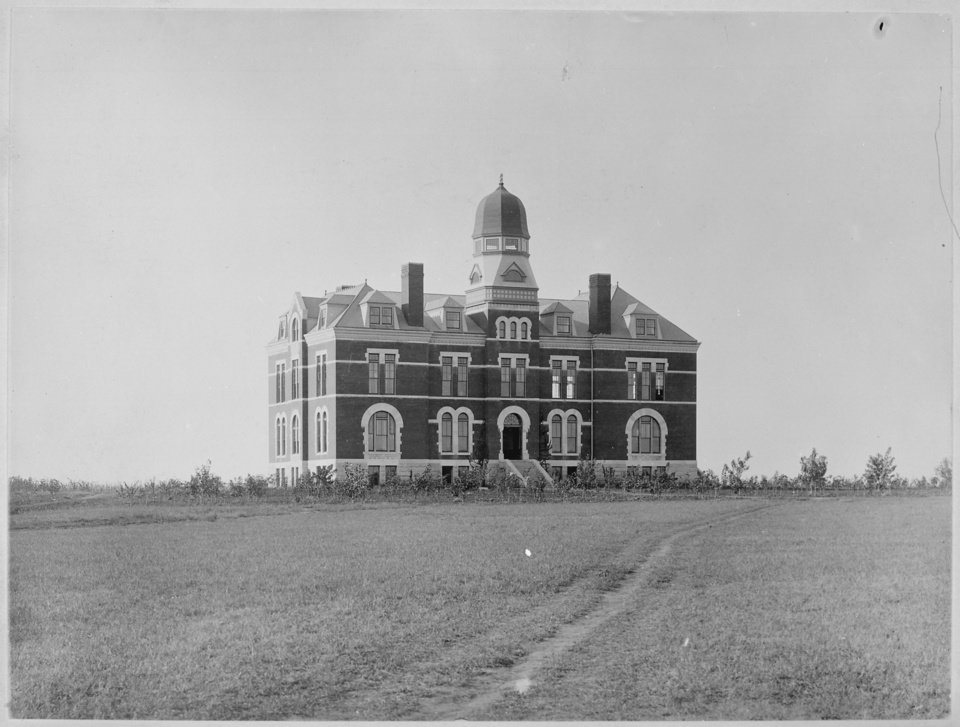 Photo - A lone building on the plains, this was OU's first real building of its own.