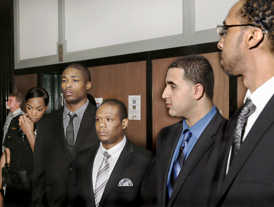 Photo -  From left, Martaveous Dwayne Gillioms, Todd Alan Miller, Hareth Hameed and Antonio Dewayne Ligons appear Aug. 27 at the Oklahoma County courthouse for their murder trial. [Photo by Jim Beckel, The Oklahoman]