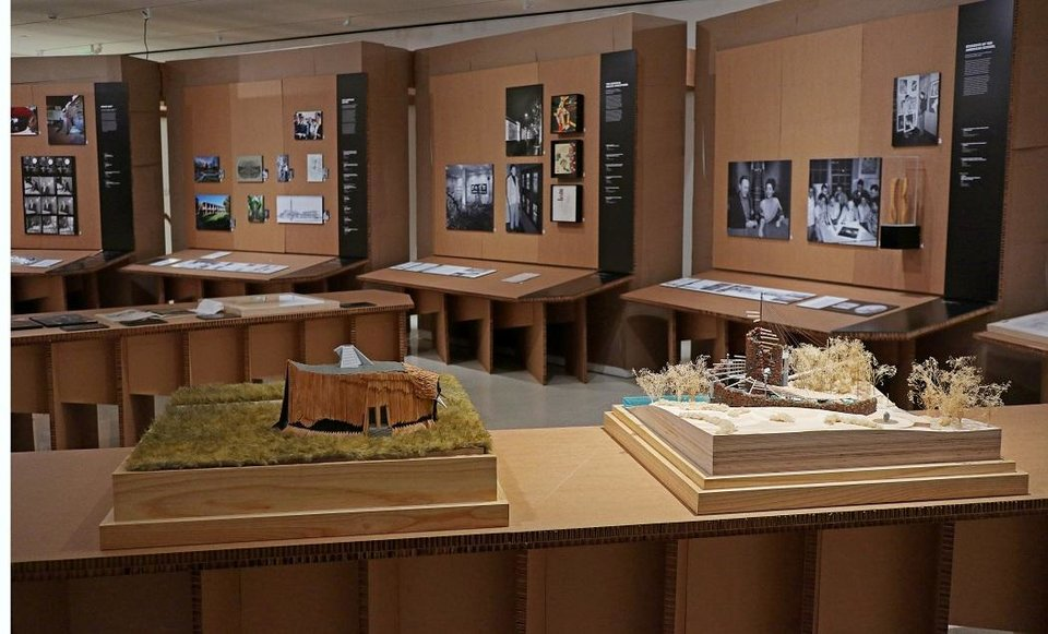 Photo - Models of the Prairie House, left, and Bavinger House are included in