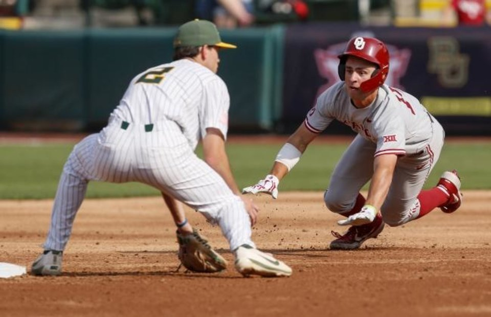 Photo -  OU's Tanner Tredaway (10) slides safely to second as Baylor's Nick Loftin (2) waits for the ball in the third inning Wednesday at the Chickasaw Bricktown Ballpark in Oklahoma City. [Nate Billings/The Oklahoman]