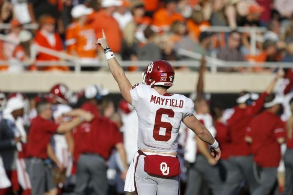 Photo -  Baker Mayfield left Oklahoma leading several offensive categories. [Bryan Terry/The Oklahoman]