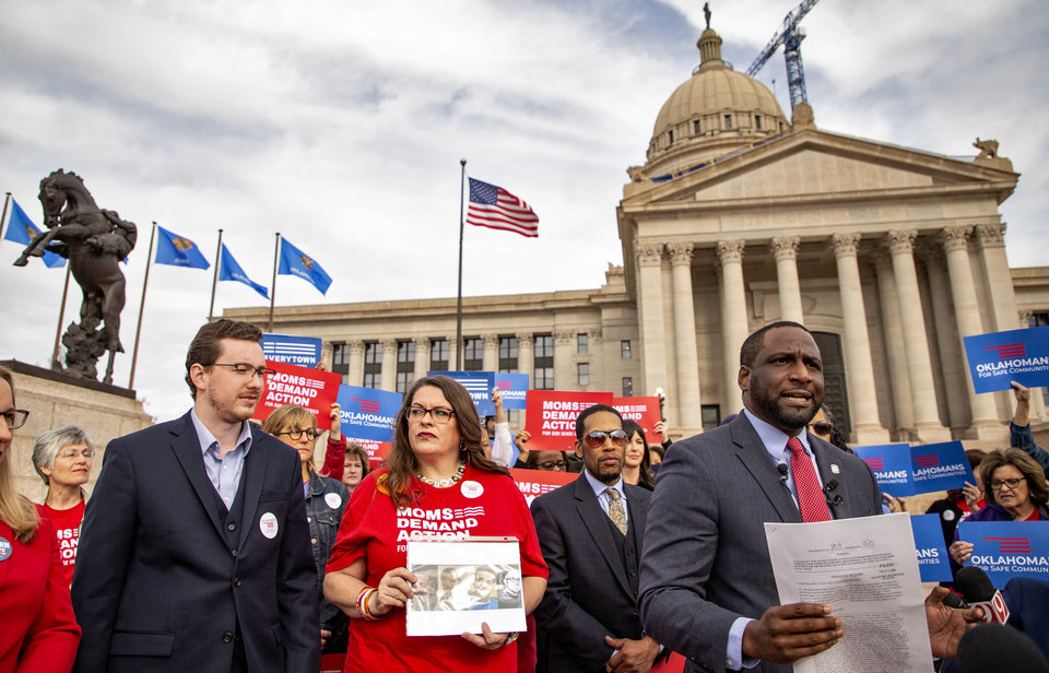 Photo - State Rep. Jason Lowe speaks during a press conference after filing a new petition to repeal permitless carry at the Oklahoma State Capitol in Oklahoma City, Okla. on Monday, Feb. 3, 2020.  [Chris Landsberger/The Oklahoman]