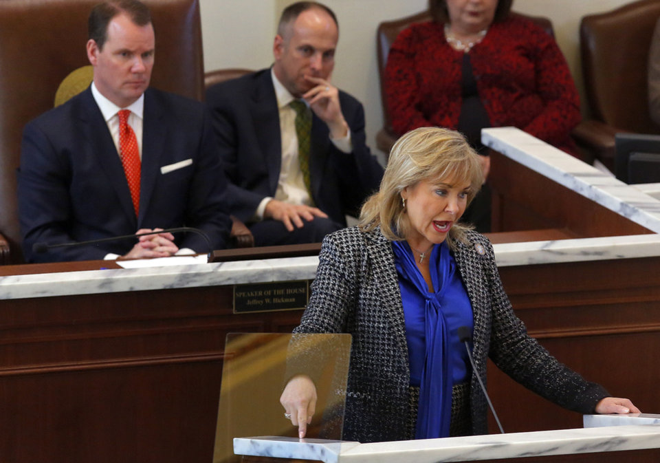 Photo - FILE - Gov. Mary Fallin speaks to lawmakers during the Oklahoma Legislature's 2016 State-of-the-State Address in the chamber of the House of Representatives at the Oklahoma state capitol on Monday, Feb. 1, 2016, in Oklahoma City, Okla. Photo by Jim Beckel, The Oklahoman