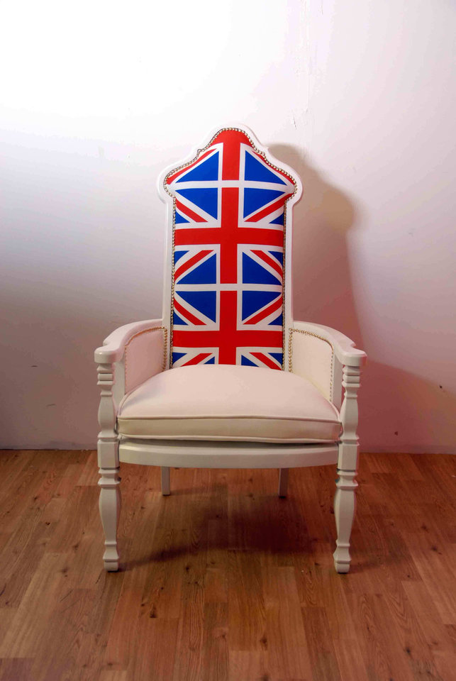 Photo - This product image courtesy of MetroSofa shows their British Flag White Throne Chair. While Paris has been dear to home decorators for several years, we're seeing the look of London more and more in the newest furnishings and accessories.     (AP Photo/MetroSofa)