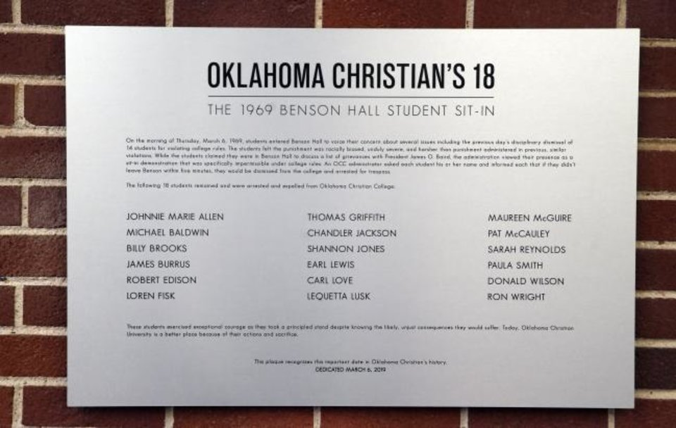 Photo -  A plaque unveiled Wednesday in Benson Hall at Oklahoma Christian University recognizes
