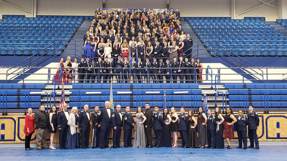 Photo - Group picture of ChoctawÕs AFJROTC Military Ball. Photo Provided