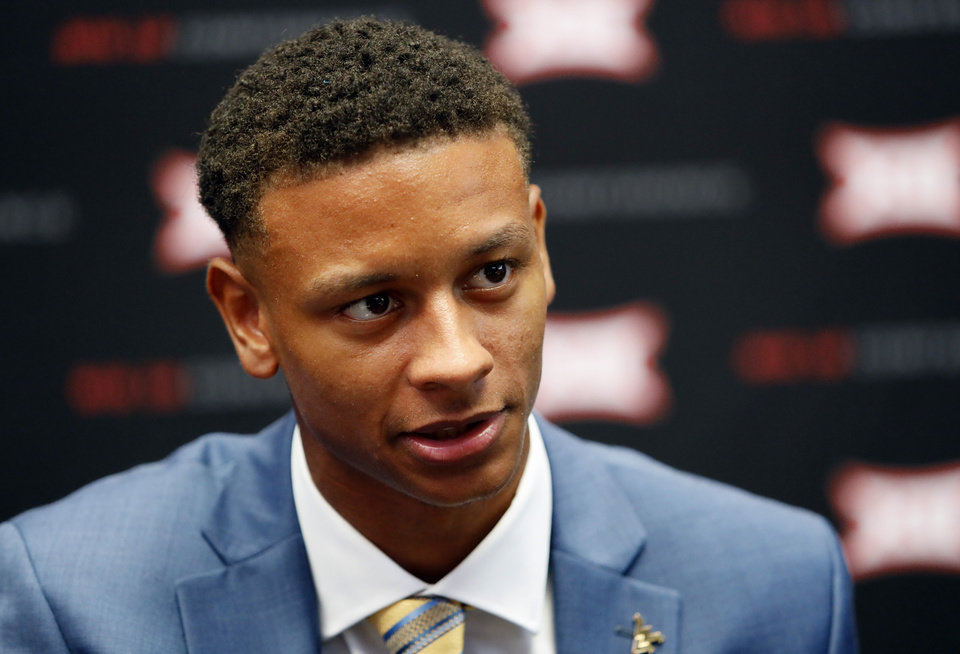 Photo - West Virginia cornerback Keith Washington Jr. speaks during Big 12 Conference NCAA college football media day Tuesday, July 16, 2019, at AT&T Stadium in Arlington, Texas. (AP Photo/David Kent)