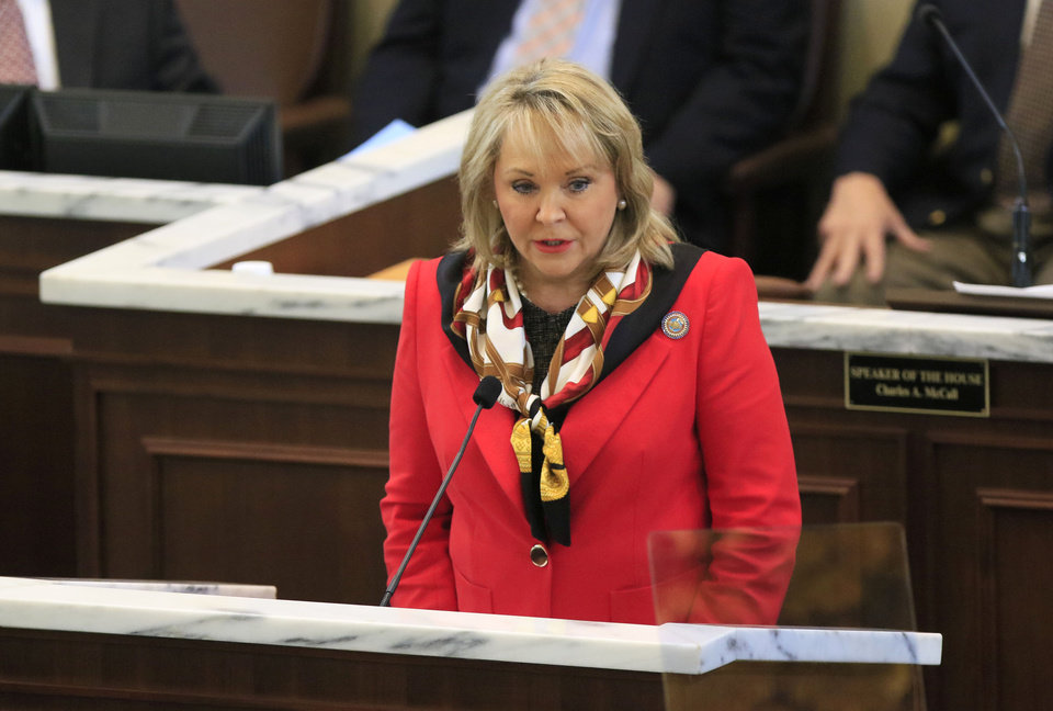 Photo - Governor Mary Fallin delivers the State of the State address on the floor of the House of Representatives at the State Capitol in Oklahoma City, Okla. Monday, Feb. 6, 2017.  Photo by Paul Hellstern, The Oklahoman