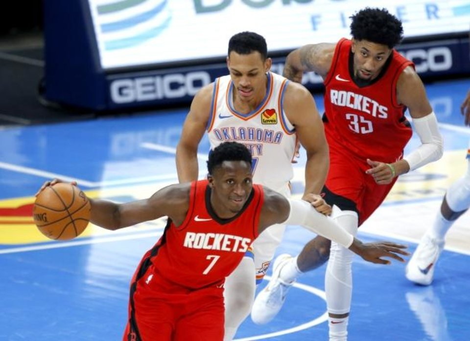 Photo -  Houston's Victor Oladipo (7) goes up court during third quarter of the NBA basketball game between the Oklahoma City Thunder and the Houston Rockets at the  Chesapeake Energy Arena in Oklahoma City, Monday, Feb. 1, 2021. Photo by Sarah Phipps, The Oklahoman