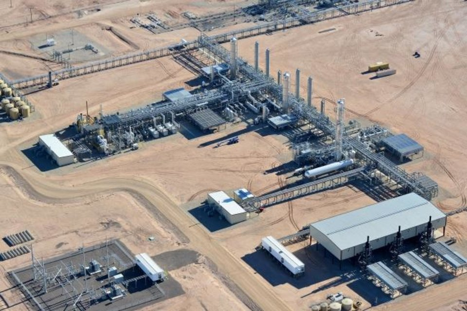 Photo -  A natural gas processing plant built by Matrix Service Co. is shown. Midstream operators have been building additional plants to handle the natural gas produced along with crude oil from shale fields across the country.