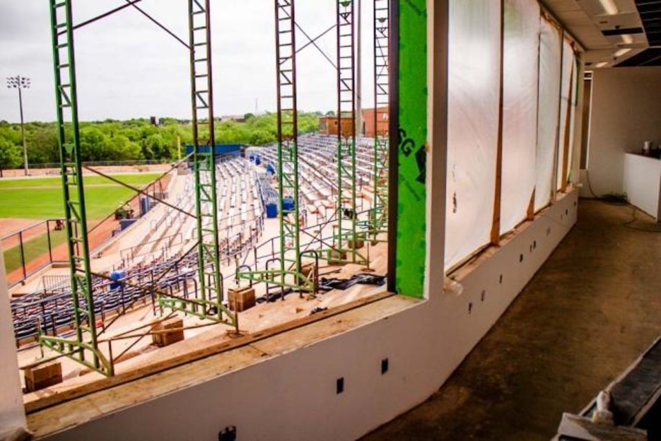 Photo -  A new two-story pressbox has changed the face of USA Softball Hall of Fame Stadium. The first level, seen here, will hold print, digital and broadcast media while the second level will be occupied primarily by ESPN, which broadcasts the Women's College World Series. [CHRIS LANDSBERGER/THE OKLAHOMAN]