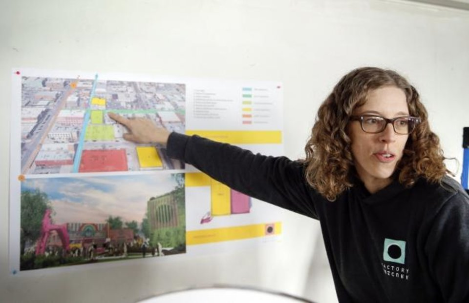 Photo -  Kelsey Karper, Factory Obscura's co-founder and Director of Logistical Creativity, talks about expansion plans for Factory Obscura in Autombile Alley in downtown Oklahoma City, Thursday, Jan. 30, 2020. [Nate Billings/The Oklahoman]