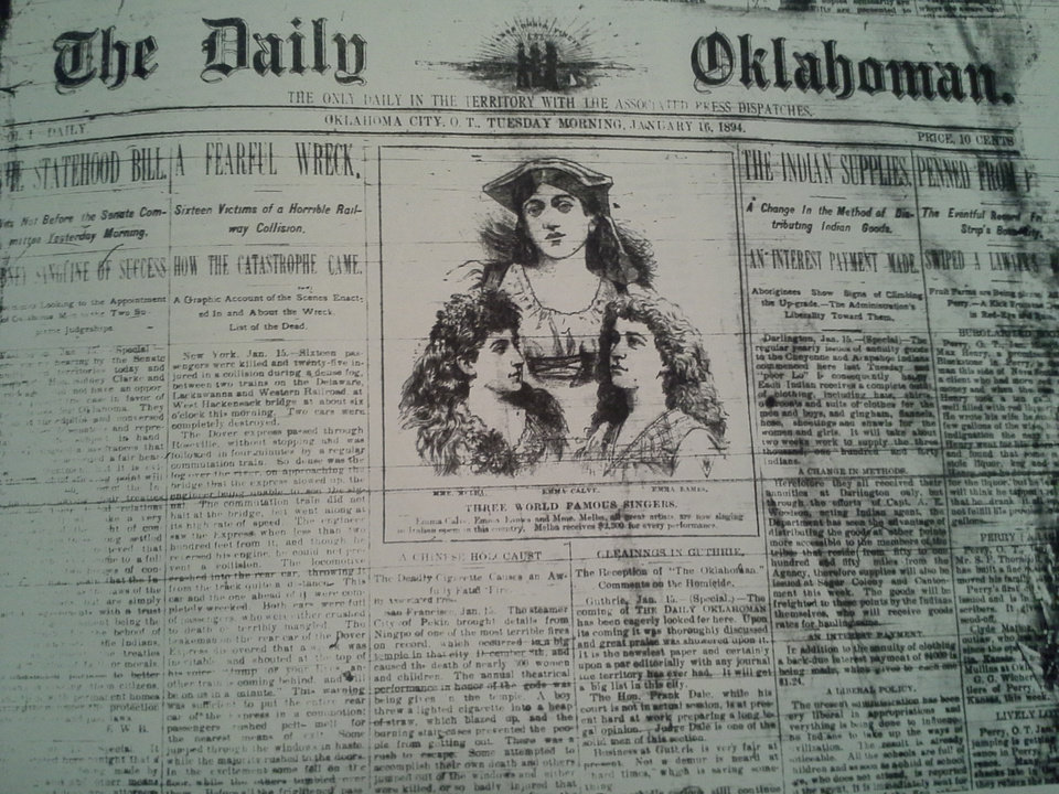 Photo -  The January 16, 1894 edition of The Daily Oklahoman - the third issue and the earliest intact front page I could find on microfilm.