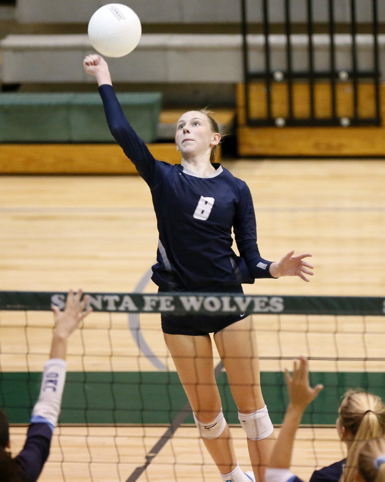 Photo - Edmond North's Kamryn Bacus (8) hits the ball during the Heather Harkness Invitational Volleyball Tournament at Edmond Santa Fe High School in Edmond, Okla., Friday, Sept. 6, 2019. [Nate Billings/The Oklahoman]