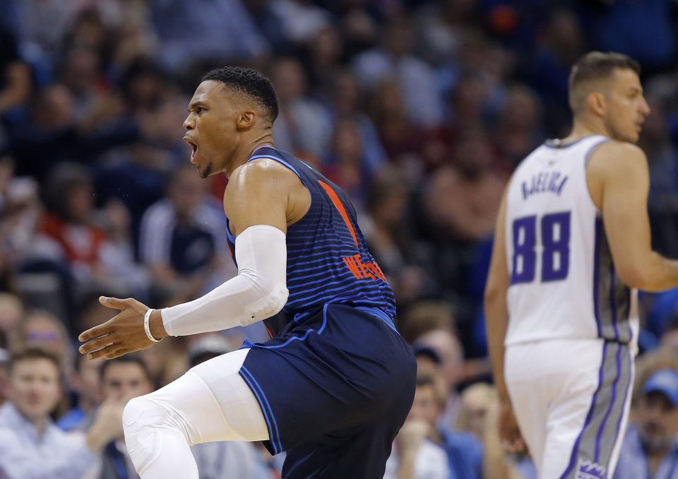 Photo - Oklahoma City's Russell Westbrook (0) shouts towards an official during an NBA basketball game between the Oklahoma City Thunder and the Sacramento Kings at Chesapeake Energy Arena in Oklahoma City, Sunday, Oct. 21, 2018. Photo by Bryan Terry, The Oklahoman