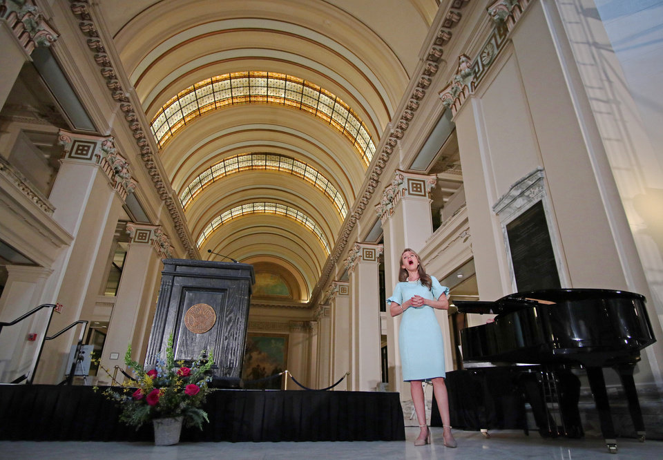 Photo - Sarah Coburn, American Soprano, performs at the Governor's Arts Awards at the Capitol, Tuesday, April 16, 2019. Photo by Doug Hoke/The Oklahoman