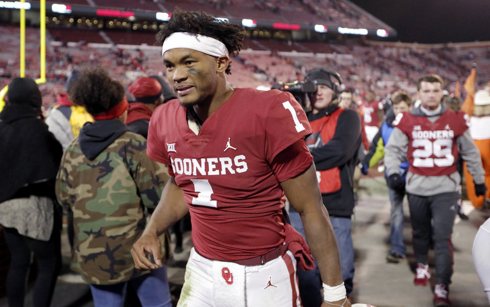 Photo - Oklahoma's Kyler Murray (1) leaves the following a Bedlam college football game between the University of Oklahoma Sooners (OU) and the Oklahoma State University Cowboys (OSU) at Gaylord Family-Oklahoma Memorial Stadium in Norman, Okla., Nov. 10, 2018.  Photo by Sarah Phipps, The Oklahoman