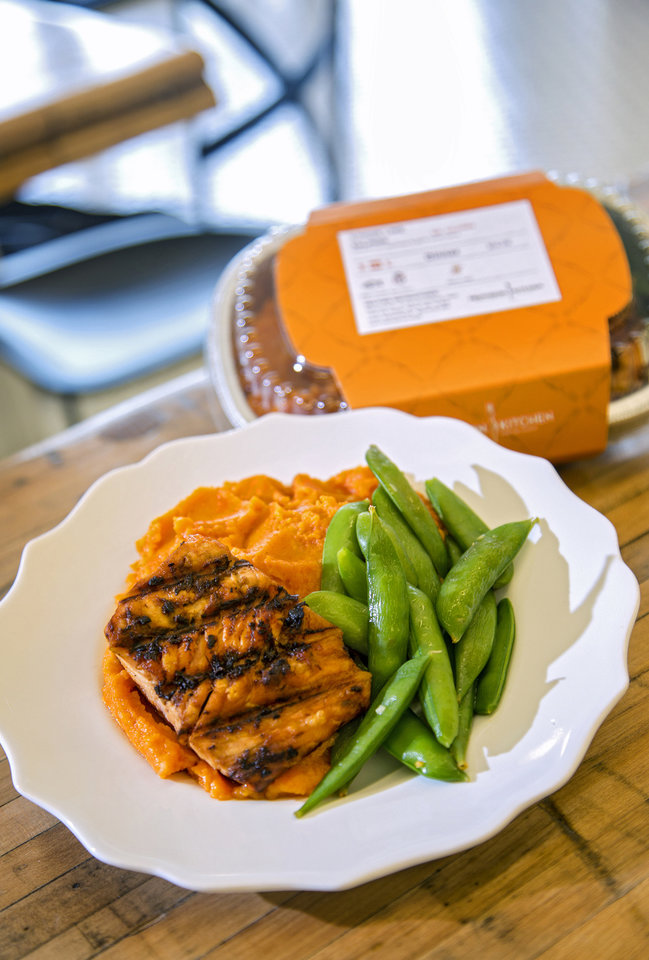 Photo -  A prepackaged salmon plate prepared at Provision Kitchen. [Photo by Chris Landsberger, The Oklahoman]