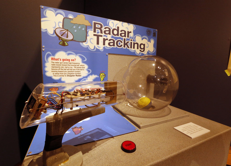 Photo -  A hands-on display explaining how Doppler radar works is part of the exhibit