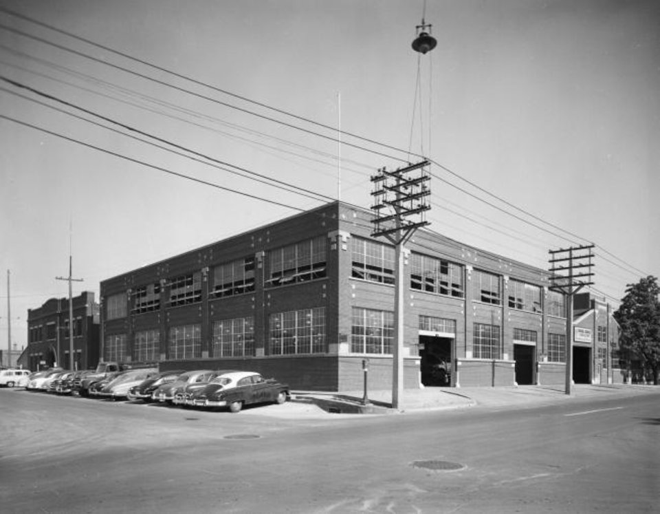 Photo -  This 1950s photograph shows the OGE Energy Corp. data center before it was covered in gold screening. [Oklahoma Historical Society]