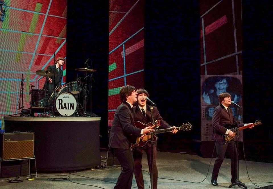 Photo - Rain – A Tribute to the Beatles will play three Oklahoma City performances April 26-27 at the Civic Center Music Hall. [Photo by Richard Lovrich]