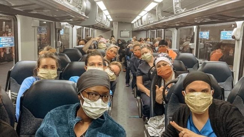 Photo -  Volunteer nurses, including Oklahoma City University alum Morgan Grizzle, head to a New York City hospital. [Photo provided]