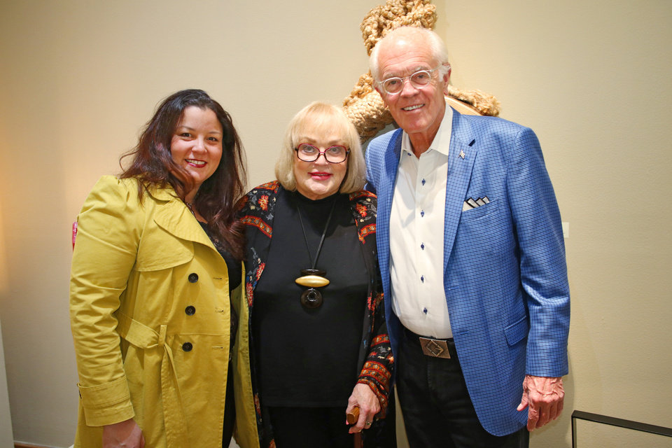 Photo - Beatriz Mayorca, Joy Reed Belt and George Wilson during Paseo First Friday at JRB Art at the Elms Friday, November 3, 2017. Photo by Doug Hoke