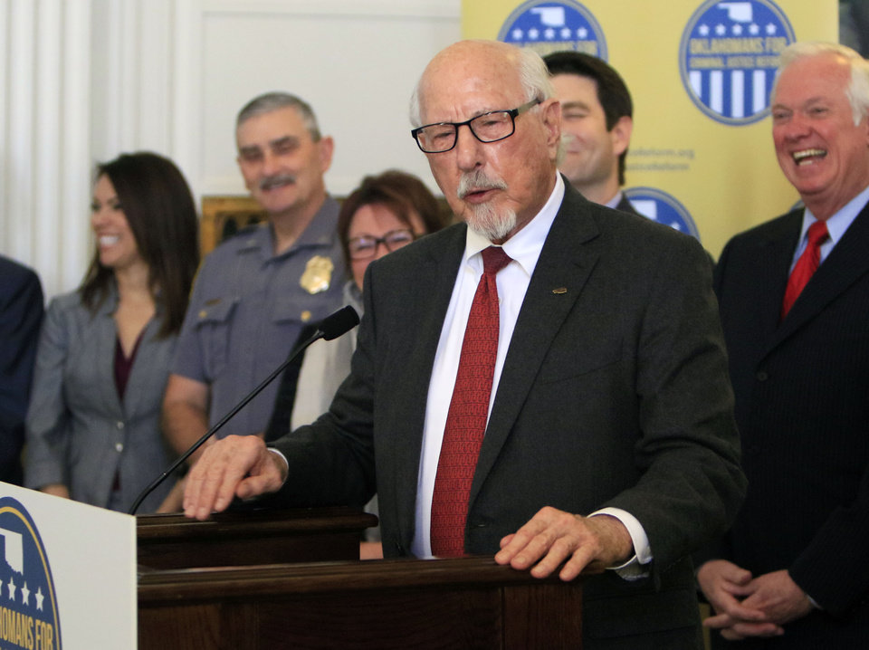 Photo -  Gene Rainbolt speaks out on behalf of a ballot initiative to reduce the state's prison population in January 2016. [Photo by Paul Hellstern, The Oklahoman Archives]