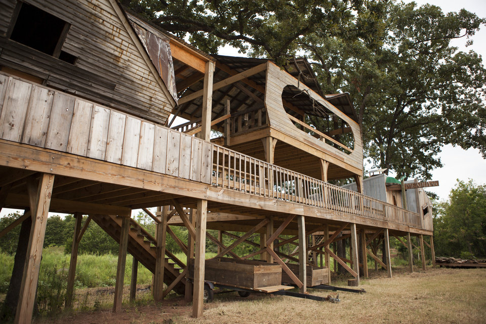 Photo -  A treehouse stage located on the Tatanka Ranch. [Photo by Nathan Poppe, The Oklahoman]
