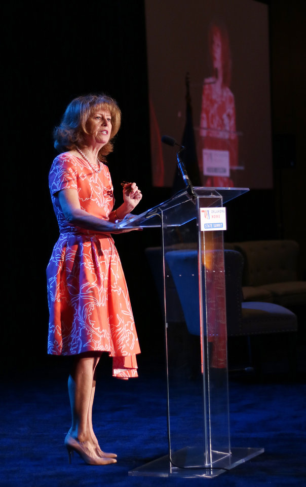 Photo -  Natalie Shirley, secretary of Education & Workforce Development and president of Oklahoma State University — Oklahoma City, addresses the crowd Thursday during the Oklahoma Works Summit at the Cox Convention Center. [Photo by Doug Hoke, The Oklahoman]