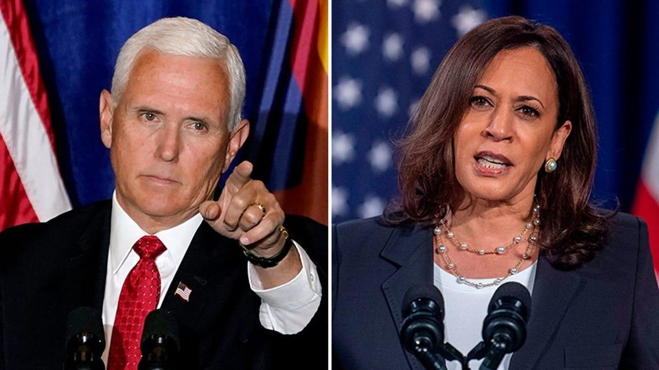 Photo - Pence and Harris face off in a vice presidential debate on Wednesday.
