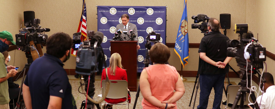 Photo - Oklahoma Attorney General Mike Hunter discusses the case of death row inmate Julius Jones Monday, July 6, 2020. [Doug Hoke/The Oklahoman]