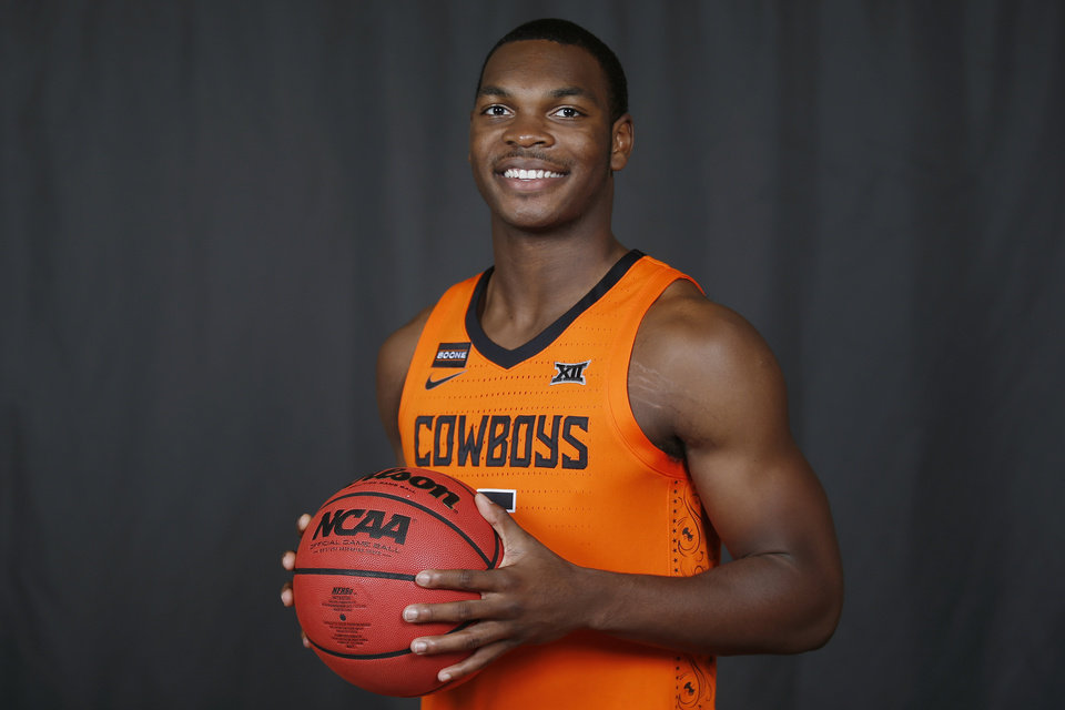 Photo - Oklahoma State guard Marcus Watson poses for a photo during media day Tuesday, Sept. 24, 2019, in Stillwater, Okla. (AP Photo/Sue Ogrocki)