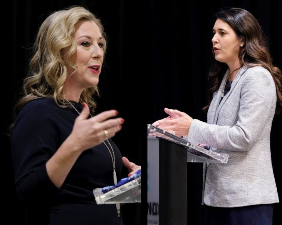 Photo -  U.S. Rep Kendra Horn, left, and state Sen. Stephanie Bice   [Doug Hoke photos/The Oklahoman]