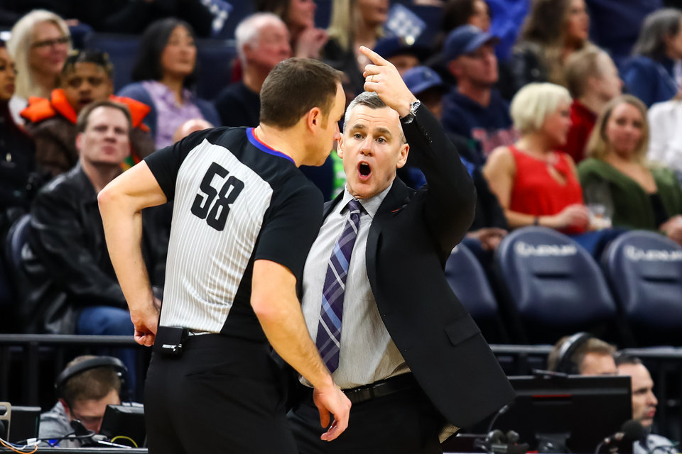 Photo - Jan 25, 2020; Minneapolis, Minnesota, USA; Oklahoma City Thunder head coach Billy Donovan argues with referee Josh Tiven (58) in the second quarter against the Minnesota Timberwolves at Target Center. [David Berding/USA TODAY Sports]