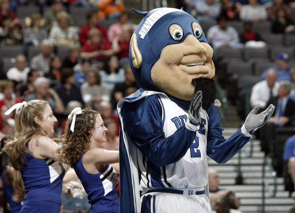 bddad9b4d15c The Duke Blue Devil cheers on the team during the regional semifinals of the  NCAA women s