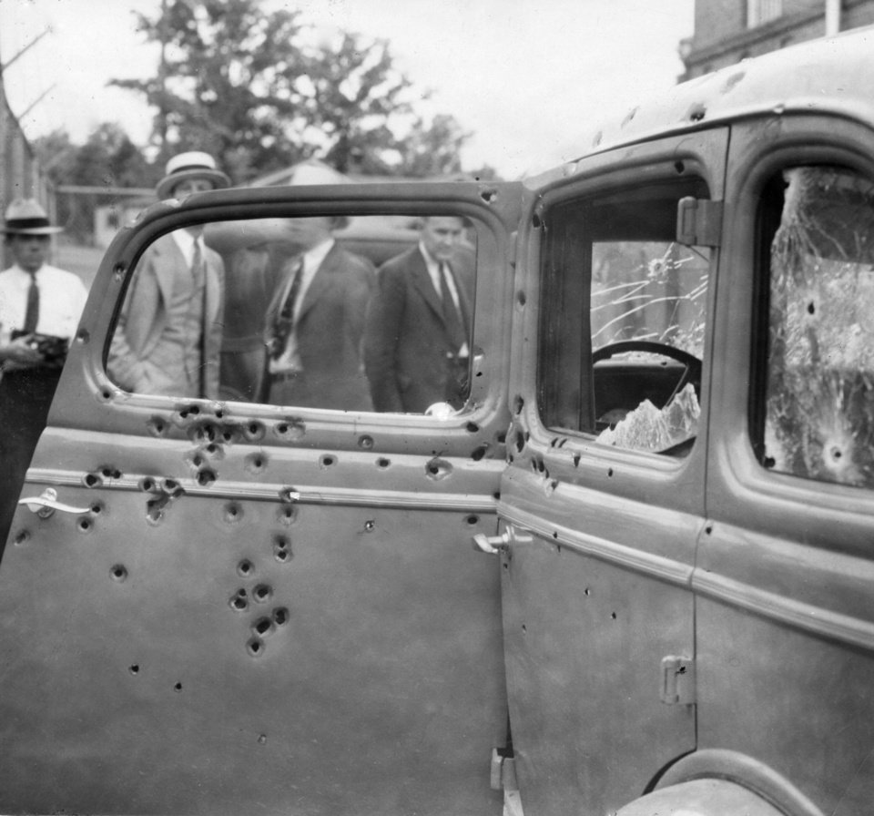 Photo - Clyde Barrow - The car in which he & Bonnie Parker were killed.