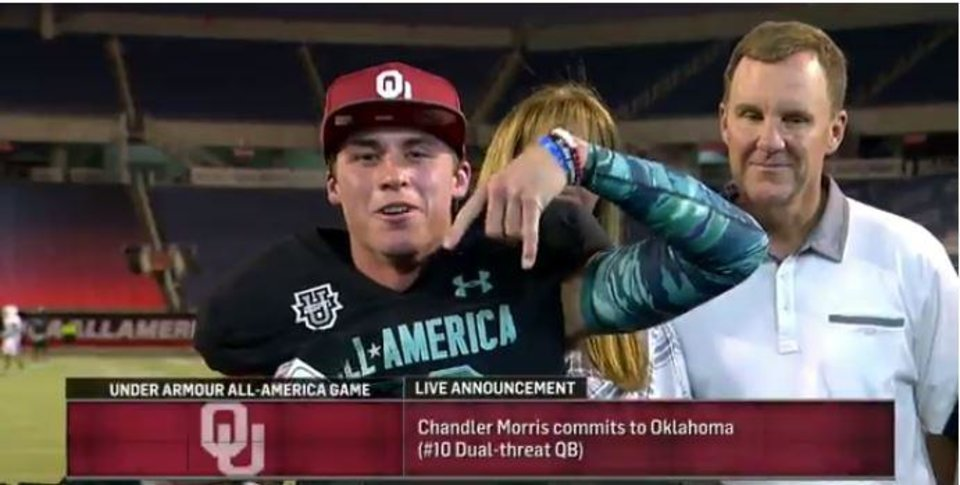 Photo - Chandler Morris announces his commitment to OU on Thursday. [ESPN screenshot]