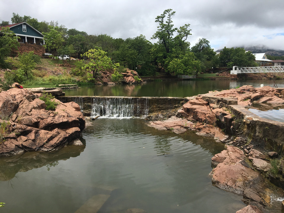 Photo -  Dam and swimming hole is seen at Medicine Park. [PHOTO BY RICHARD MIZE, THE OKLAHOMAN]