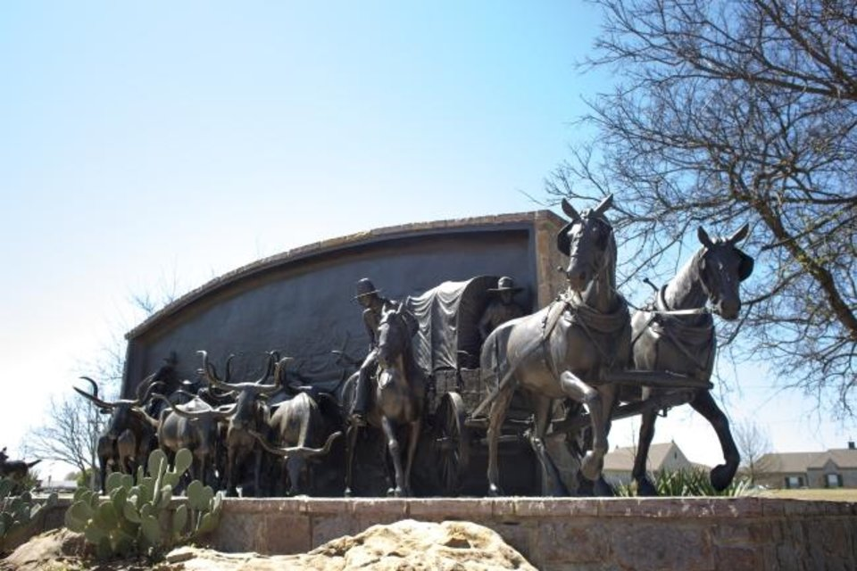 Photo -  This a monument at the Chisholm Trail Heritage Center in Duncan. [Lori Duckworth/Oklahoma Tourism]