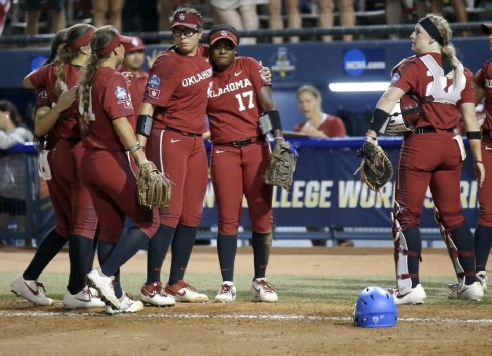 Photo -  Oklahoma reacts after losing the Women's College World Series to UCLA at USA Softball Hall of Fame Stadium in Oklahoma City, Tuesday, June 4, 2019. [Sarah Phipps/The Oklahoman]